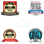 Award logos for Best's Client recommended Insurance Attorneys 2020, US News Best Law Firms 2020 Best's Client Recommended Insurance Attorneys, Best of B2B Omaha, Meritas Law Firms Worldwide