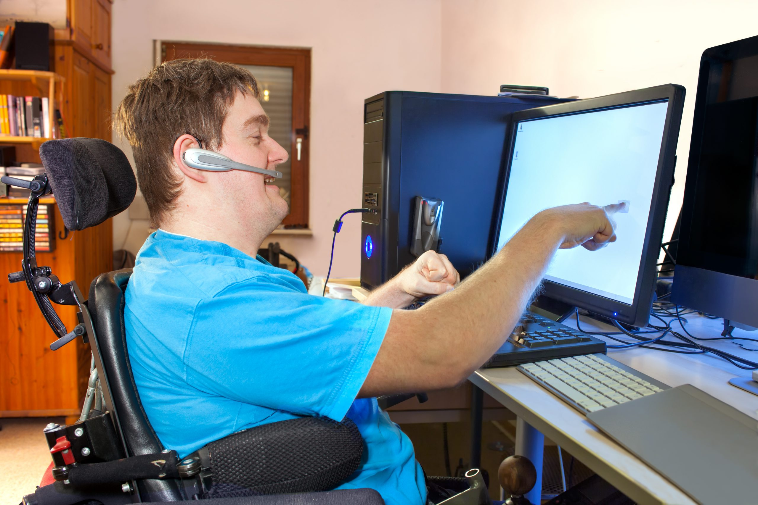 Disabled student working on computer