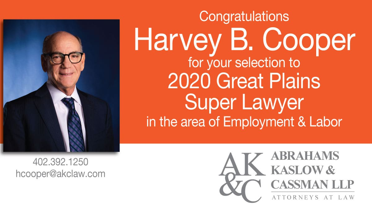 Harvey Cooper selected to Super Lawyers