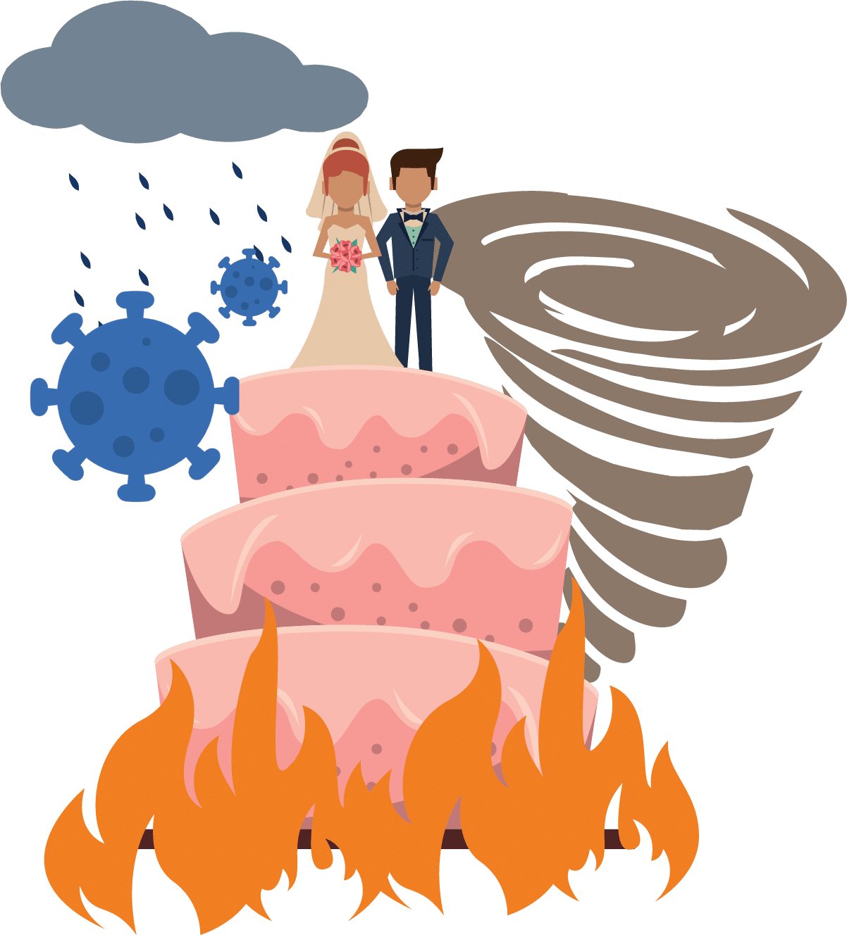 illustration of a wedding disaster
