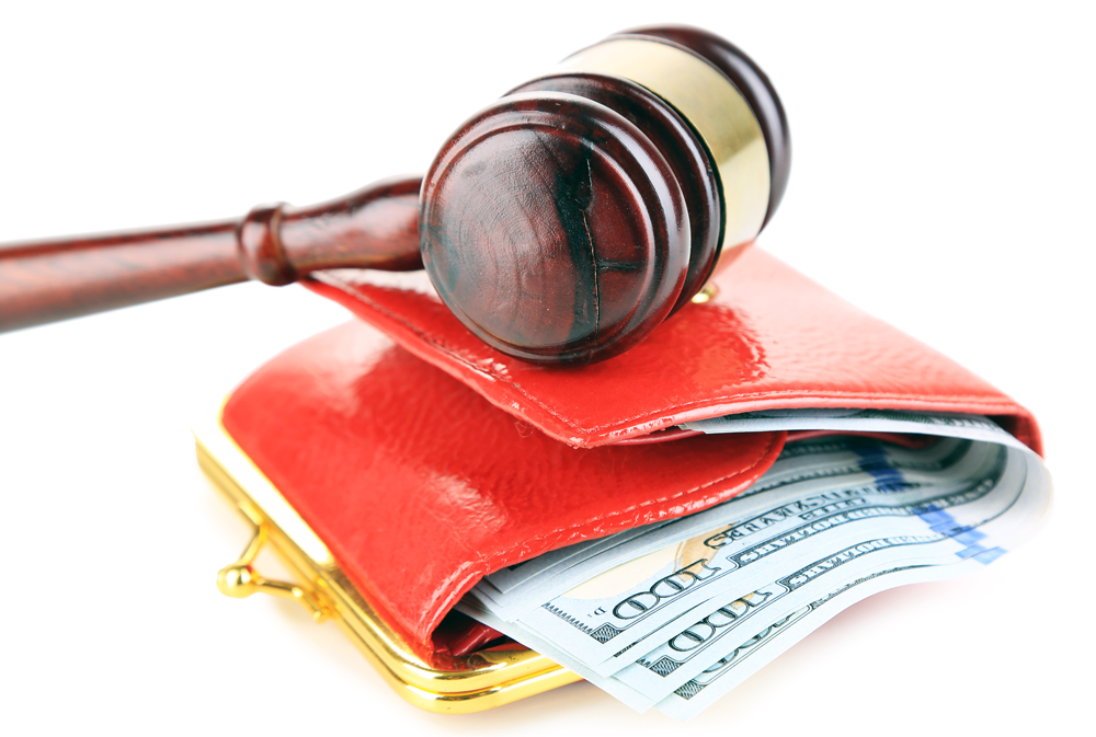 an image that shows a judges gavel on top of a wallet, indicating a garnishment